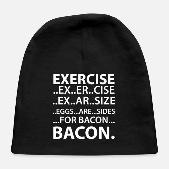 Bacon Baby Caps - EXERCISE FOR BACON - Baby Cap black