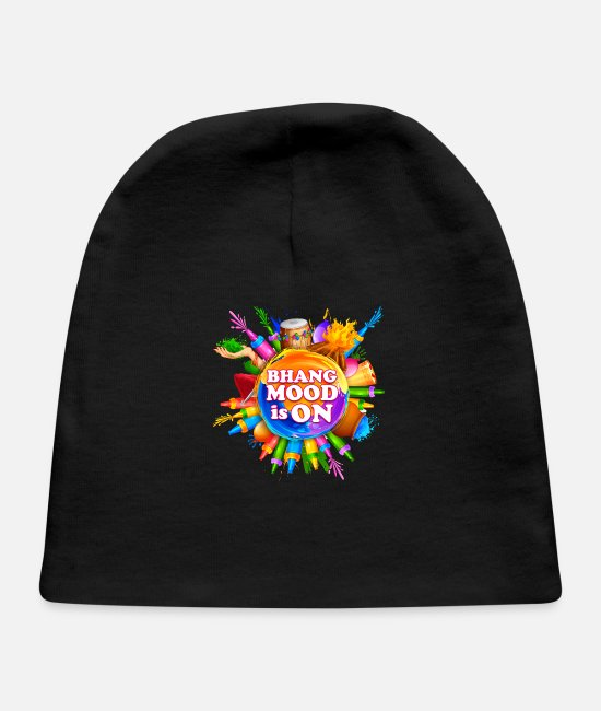Festival Baby Hats - BHANG MOOD IS ON Funny Holi Tshirt - Baby Cap black