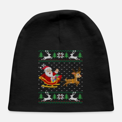 fd42c4372ec35 Front. Design. Front. Design. Front. Design. Design. Front. Sleigh Baby  Caps - Cute Santa Ugly Christmas Sweater Gift Rudolph Tee - Baby Cap black