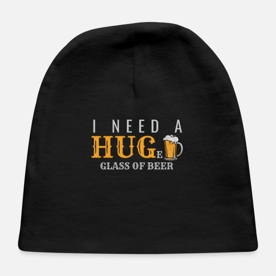 Birthday Baby Caps - Funny Tee Shirt Hug Huge Glass of Beer - Baby Cap black