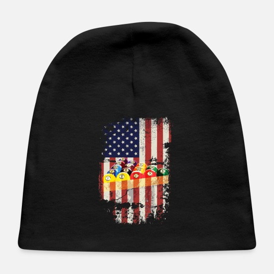 Ball Baby Caps - Pool Billiards 8 Ball Vintage American Flag - Baby Cap black