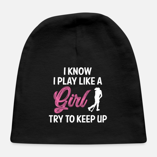 Field Hockey Baby Caps - Field Hockey Girl - Baby Cap black