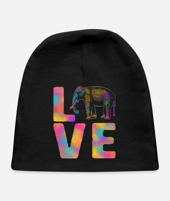 Master Baby Hats - Love Happy Holi Colorful Elephant India Dance - Baby Cap black