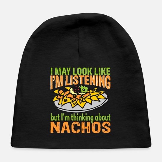 Birthday Baby Caps - I'm Thinking About Nachos Foodie Gift - Baby Cap black