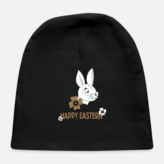 Gift Idea Baby Caps - Happy Eastern Easter Bunny Easter - Baby Cap black