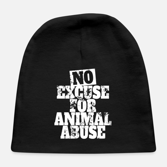 Pet Baby Caps - No Excuse For Animal Abuse - Pro Animal Protection - Baby Cap black