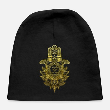 Om Hamsa Hand Mandala with Om sign in gold design - Baby Cap