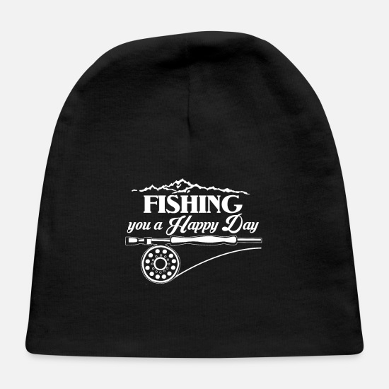 Trout Baby Caps - Fishing Makes Me Happy Fishing You A Happy Day - Baby Cap black