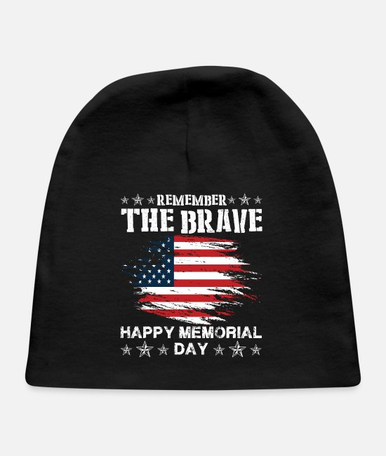 Honor Baby Hats - Memorial Day Remember the Brave - Baby Cap black