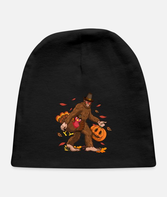 Big Baby Hats - Funny Bigfoot Thanksgiving Day Turkey Costume - Baby Cap black