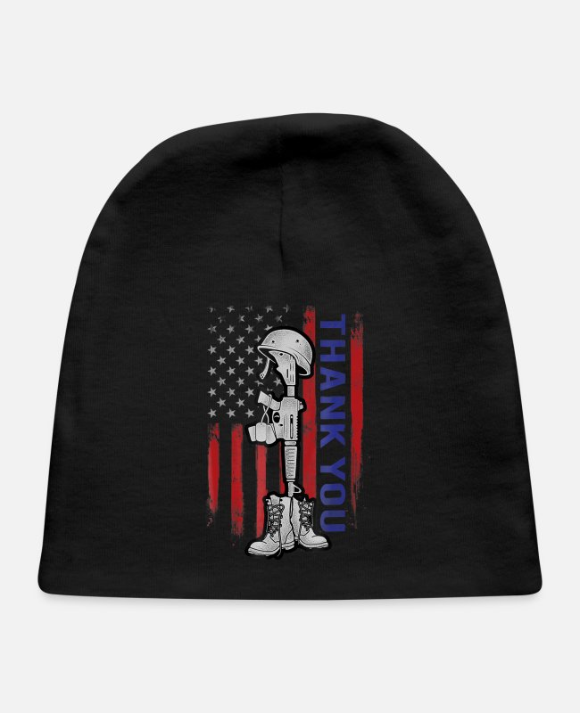 Day Of The Week Baby Hats - Distressed Memorial Day Shirt Flag Military Bo - Baby Cap black