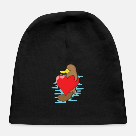 Birthday Baby Caps - Platypus with a big heart - Baby Cap black
