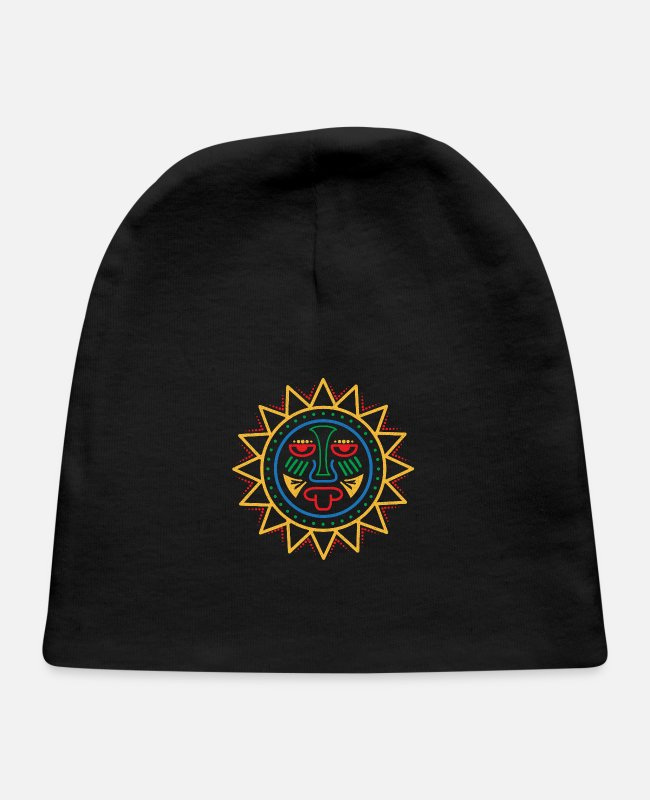 Mexican Baby Hats - Aztec Symbol Sun Tribal Art Gift Idea - Baby Cap black