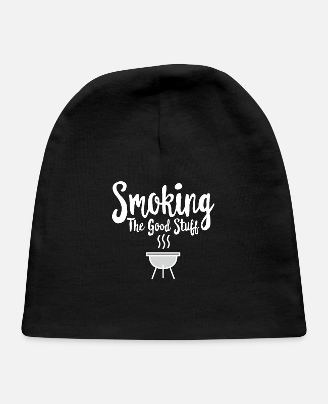 Lighter Baby Hats - Smoking The Good Stuff Smoker Smoke Funny Gift - Baby Cap black