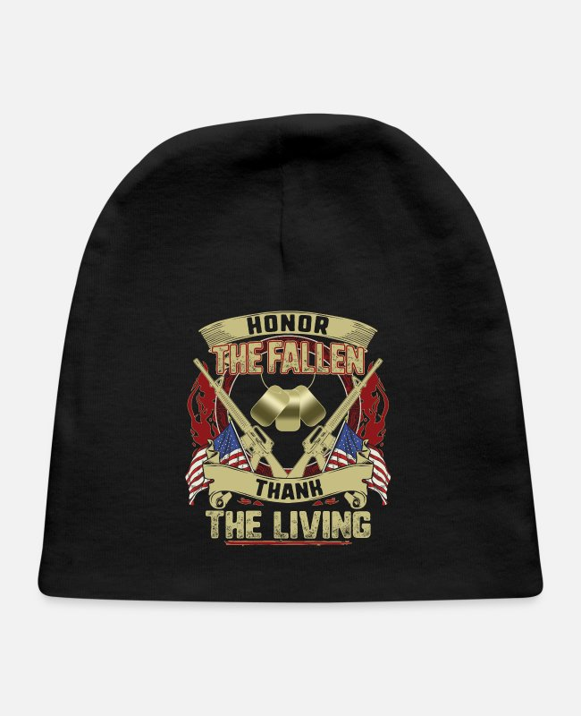 Honor Baby Hats - Honor The Fallen Thank The Living Memorial Day - Baby Cap black