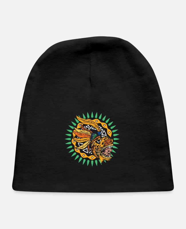 Native Baby Hats - Aztec Chieftain Warrior Jaguar Native Culture Gift - Baby Cap black