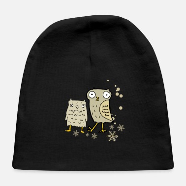 Snowflake Cute owl with snowflakes - Baby Cap