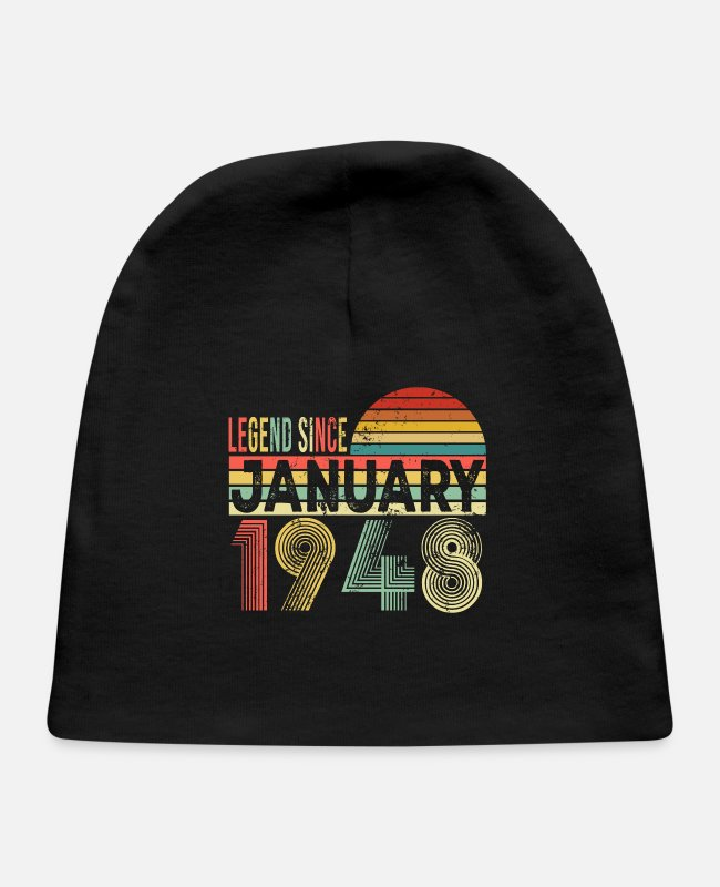 Born In Baby Hats - Vintage Retro Funny 73rd Birthday Gifts - Baby Cap black
