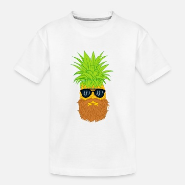 Cool-cute-stylish-mustaches Bearded Fruit Cool Pineapple Graphic Tshirt - Toddler Organic T-Shirt