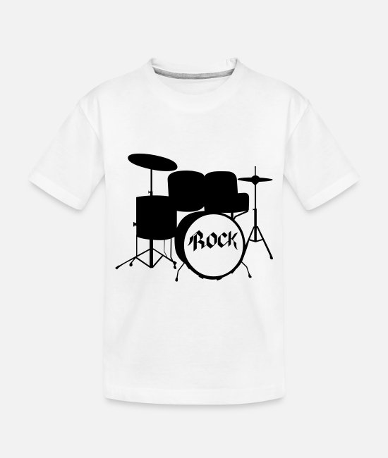 Drummer Baby T-Shirts - Rock Drummer - Drums - Rock and Roll - Band - Toddler Organic T-Shirt white