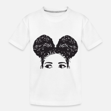 Afro Pony Tail Girl Black Afro Female Cute Hair Style - Toddler Organic T-Shirt