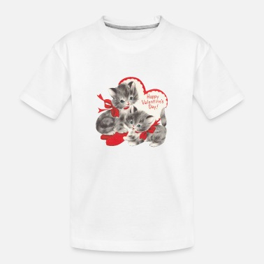 VALENTINES DAY KITTENS RED BOW & HEARTS - Toddler Organic T-Shirt