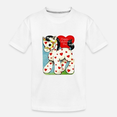 Valentine's Day, white toy horse with red hearts. - Toddler Organic T-Shirt