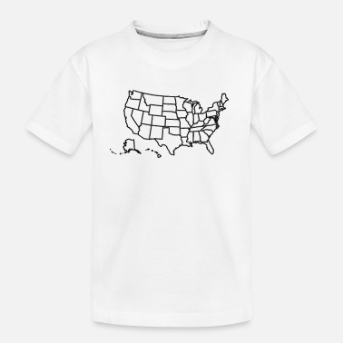 Map USA Map with States Classic White - Toddler Organic T-Shirt