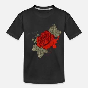 Symbol Drawing of a red rose with leaves - Toddler Organic T-Shirt