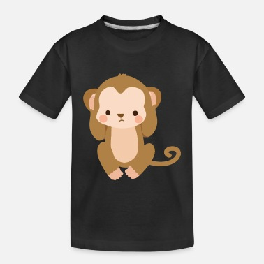 Hear Cute Kawaii Monkey Hear No Evil - Toddler Organic T-Shirt