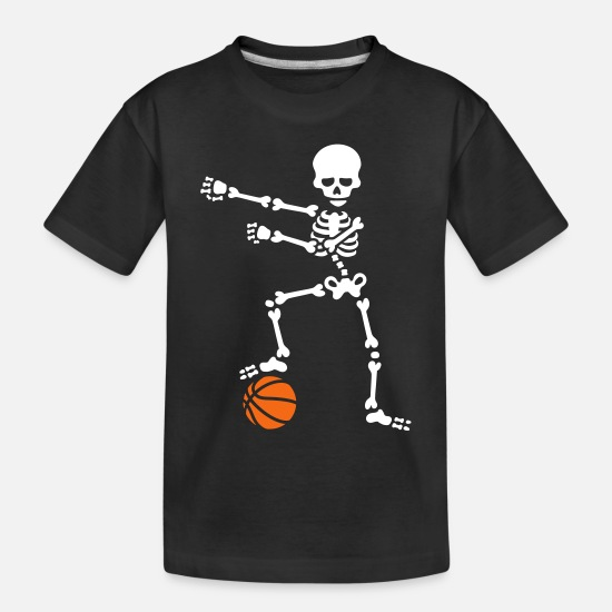 Kids Baby Clothing - Basketball the floss dance flossing skeleton - Toddler Organic T-Shirt black