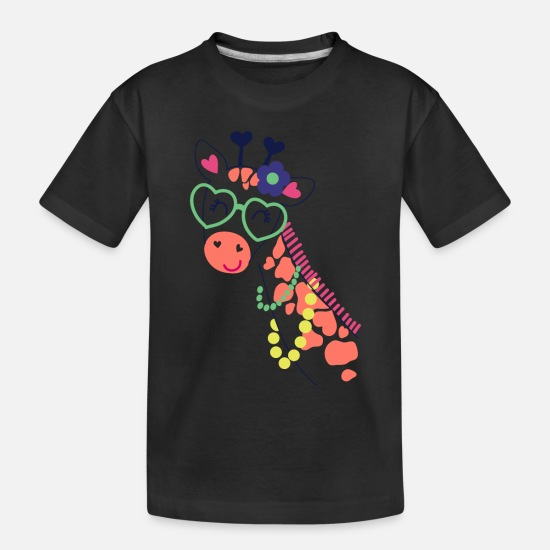 Giraffe Baby Clothing - cute sweet funny Giraffe nature animals lovers - Toddler Organic T-Shirt black