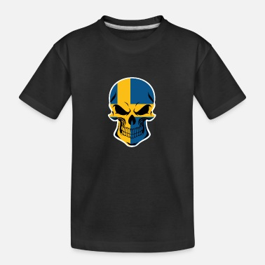 Swedish Flag Swedish Flag Skull - Toddler Organic T-Shirt