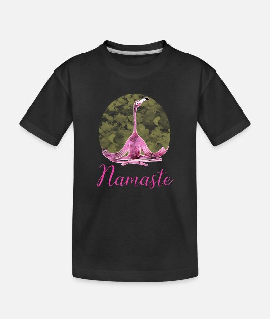 Yogi Baby T-Shirts - Namaste Flamingo India Yoga Meditation Birthday - Toddler Organic T-Shirt black