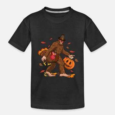 Bigfoot Thanksgiving Day Funny Bigfoot Thanksgiving Day Turkey Costume - Toddler Organic T-Shirt