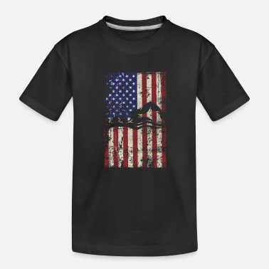 Swim Swimming USA American Flag Vintage - Toddler Organic T-Shirt