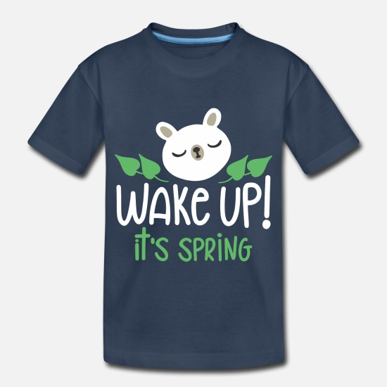 Birthday Baby Clothing - Wake Up It s Spring - Toddler Organic T-Shirt navy