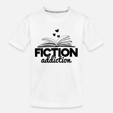 Fiction Addiction Bookworm Reading Quote Saying - Kid's Organic T-Shirt