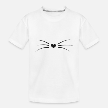 cat whiskers heart - Kid's Organic T-Shirt
