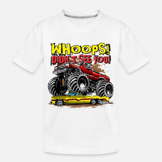 Red T-Shirts - Monster Truck Whoops Red - Kid's Organic T-Shirt white