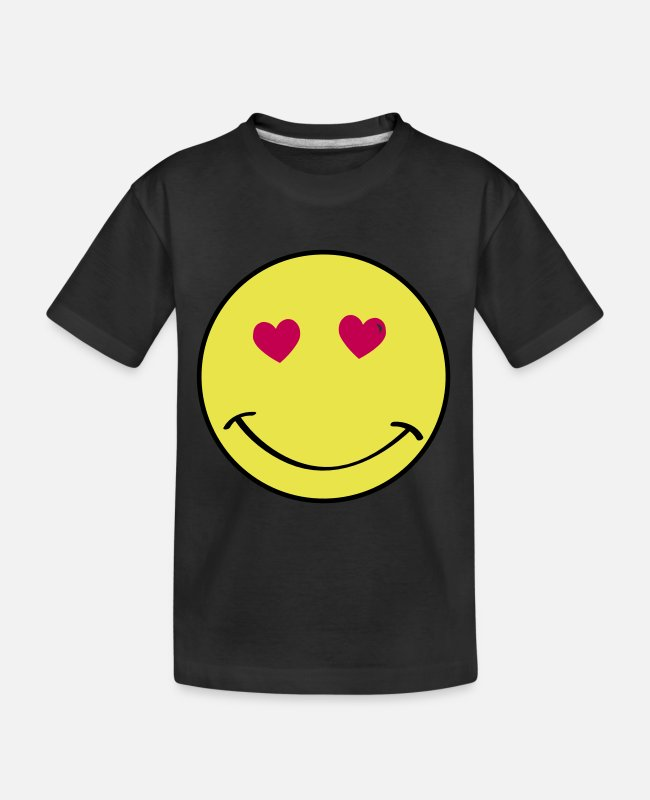Heart T-Shirts - Heart Eyes Smiley Face - Kid's Organic T-Shirt black