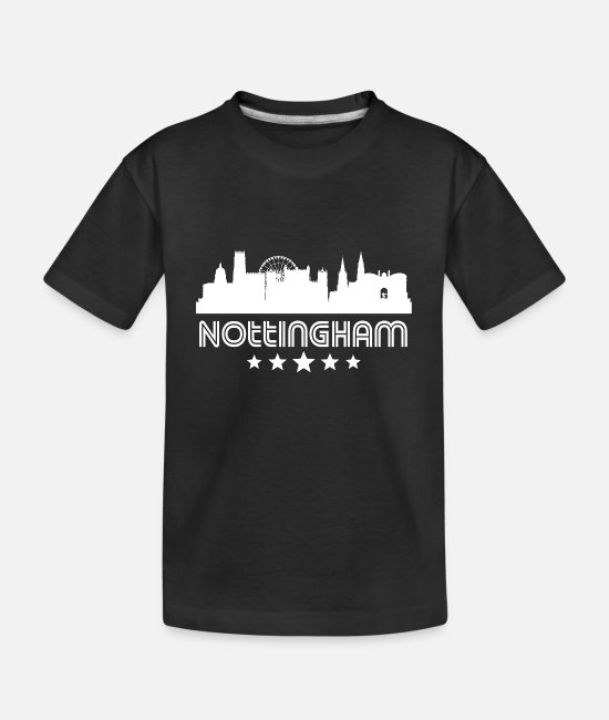 Nottingham T-Shirts - Retro Nottingham Skyline - Kid's Organic T-Shirt black