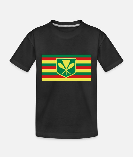 Usa T-Shirts - Kanaka Maoli - Native Hawaiian Flag - Kid's Organic T-Shirt black