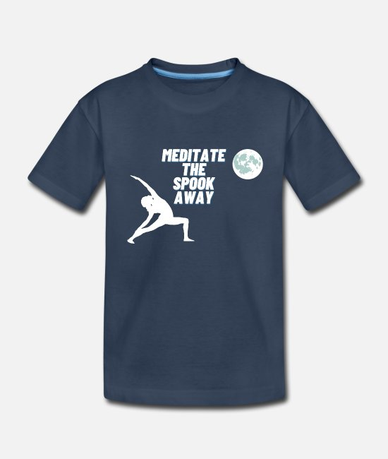 Yogi T-Shirts - Meditate The Spook Away - Halloween Yoga Moon - Kid's Organic T-Shirt navy