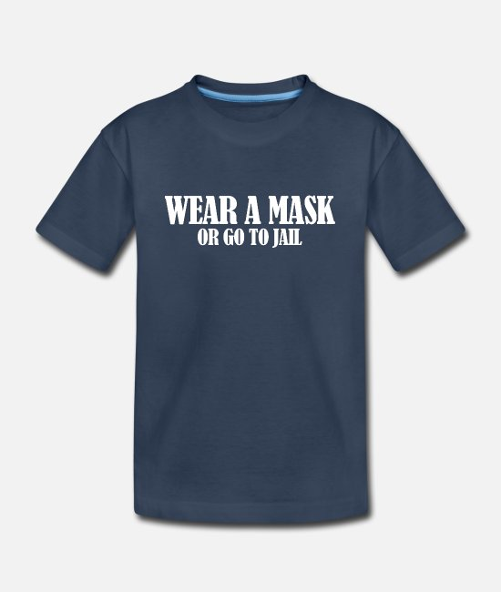 Covid T-Shirts - Wear a Mask (dark) - Kid's Organic T-Shirt navy