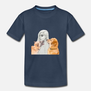 Portrait of women with 2 #dogs - Kid's Organic T-Shirt