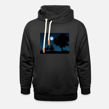 Man with Dog D20 Dice Moon Night Tabletop RPG - Unisex Shawl Collar Hoodie