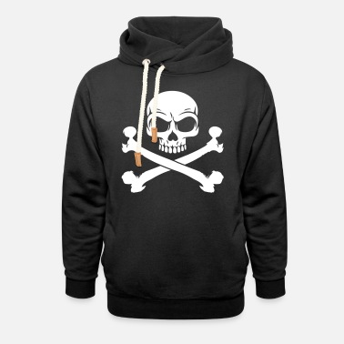 Crossbones Custom Pirate Skull & Crossbones Jolly Rogers Flag - Unisex Shawl Collar Hoodie