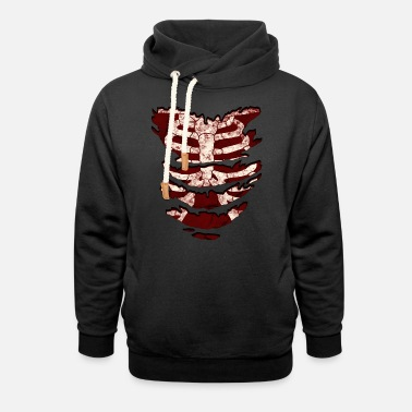 429e118b823 Torn Skeleton torso under torn shirt in vintage look! - Unisex Shawl Collar  Hoodie