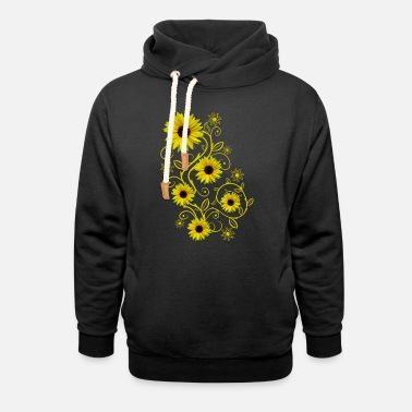 Bloom yellow blooming sunflowers ornament flower floral - Unisex Shawl Collar Hoodie